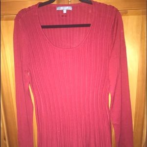 Daisy Fuentes Red Ribbed Tunic Sweater. XL.